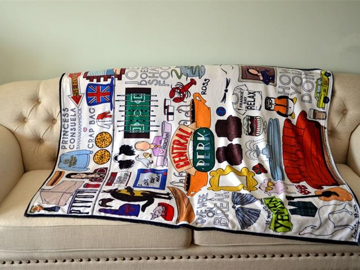 120x150cm/125x200cm TV  Show Friends Soft Carpet Central Perk Warm Blanket Souvenir Sofa Cover