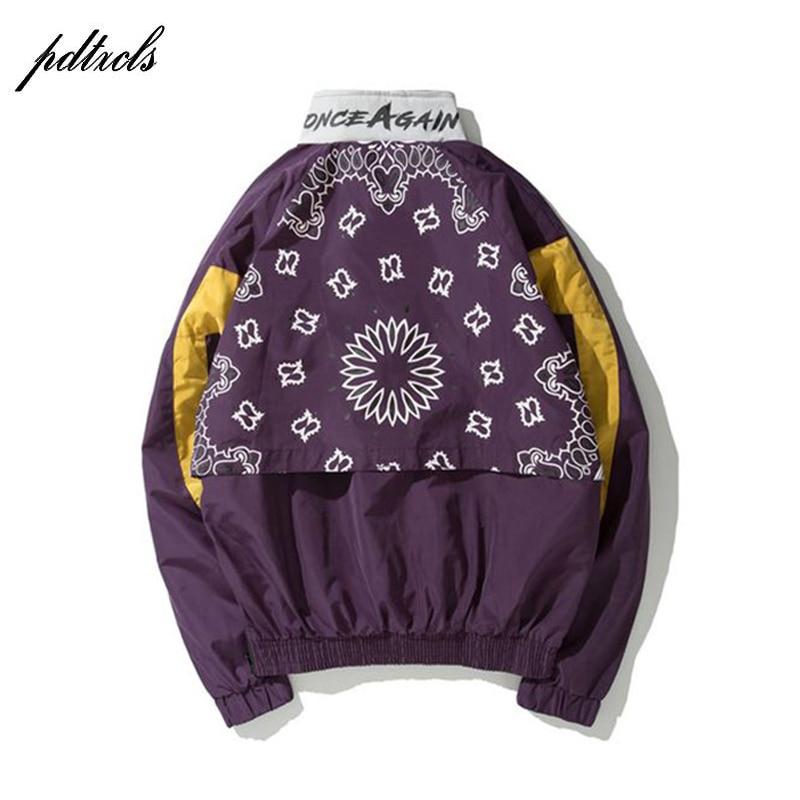 Chaquetas Pone Cazadora Flores 2018 Jersey Cremallera Media Patchwork Purple Primavera Otoño De red Streetwear 49new Color Bloque Impreso Anacardo wZg6xppYq