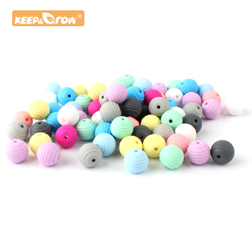 Keep&Grow 10pcs 15mm Round Spiral Silicone Beads Food Grade Beads DIY Threaded BPA Free Beads Baby Teethers