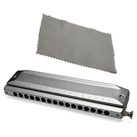 SYDS Chromatic Harmonica Silver Tone 16 Hole 64 Mouth Music Instruments