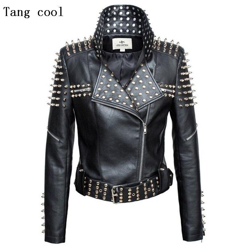 Luxury New 2019 Autumn fashion women rivet motorcycle PU faux   leather   spike studded jacket outerwear streetwear jackets