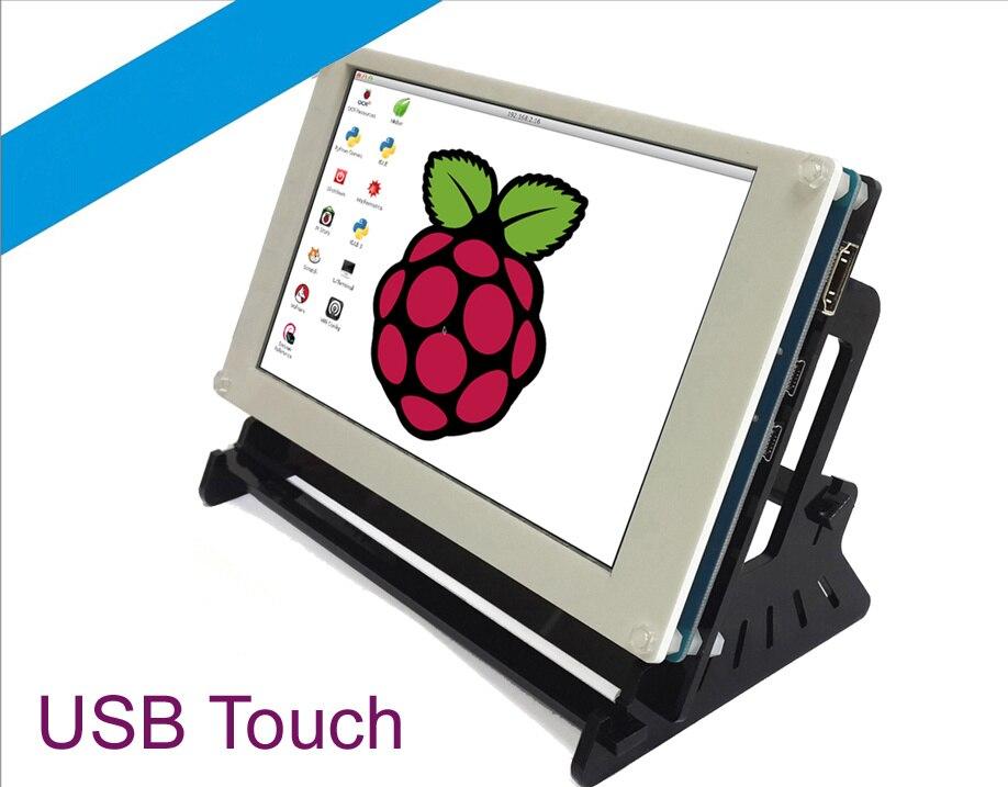Pour Raspberry pi 3/2B/B +, banane Pi, banane Pro, BB noir 7 pouces HDMI écran à condensateur tactile 480*800 rapport de résolution 7