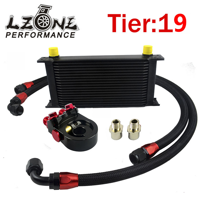 LZONE -  Universal 19ROWS OIL COOLER KIT + AN10 oil Sandwich Plate Adapte with Thermostat + 2PCS NYLON BRAIDED HOSE LINE BLACK