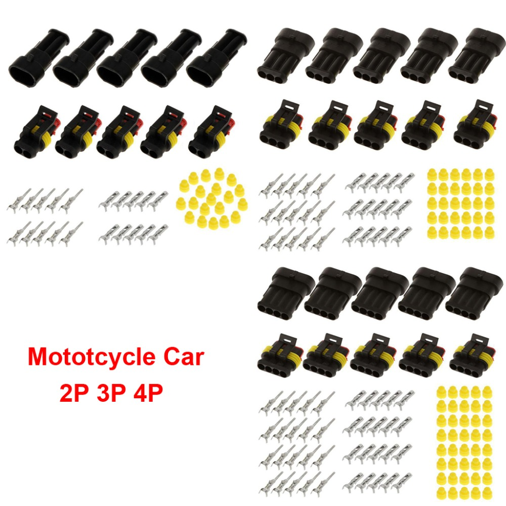 15sets Waterproof Electrical Wire Connector 2 3 4 Pins Way Mototcycle Car Auto Sealed Plug IP68