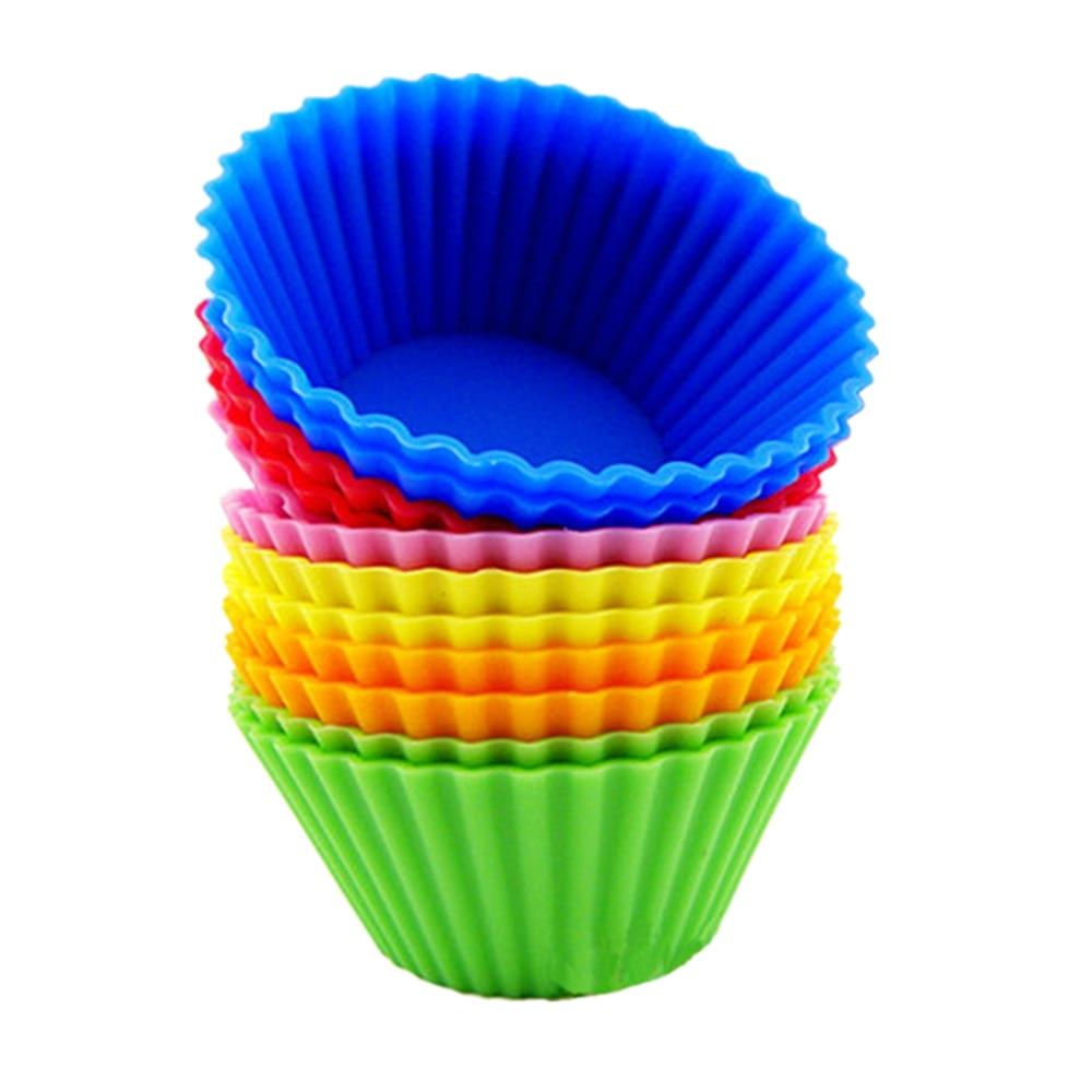 6Pcs/ 1Set <font><b>Silicone</b></font> <font><b>Cupcake</b></font> Mold Round Shape <font><b>Muffin</b></font> <font><b>Cases</b></font> <font><b>Cake</b></font> Pudding Chocolate <font><b>Cup</b></font> <font><b>Cake</b></font> Baking <font><b>Mould</b></font> Bakeware KMJ0127