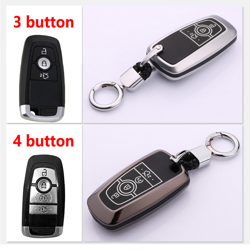 Image 2 - Luminous Leather Car Styling Key Cover Case for Ford Fusion Mondeo Mustang Edge Expedition EXplorer 2017 2018 smart key case-in Key Case for Car from Automobiles & Motorcycles