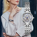 Kenneth Cole mujeres mismo-viento automático mecánico acero relojes pulsera marca de lujo impermeable reloj KC10022295