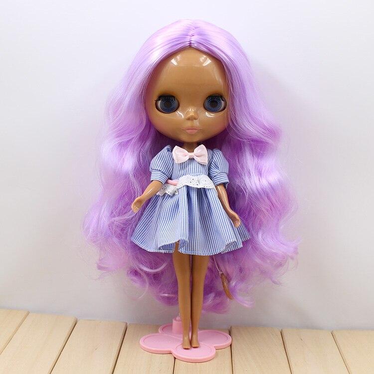 260BL 7008 purple curly long hair no bangs center cut dark Skin tan skin Nude Doll suitable for change DIY purple curly long hair with bangs normal body nude doll suitable for change diy 280bl732 117