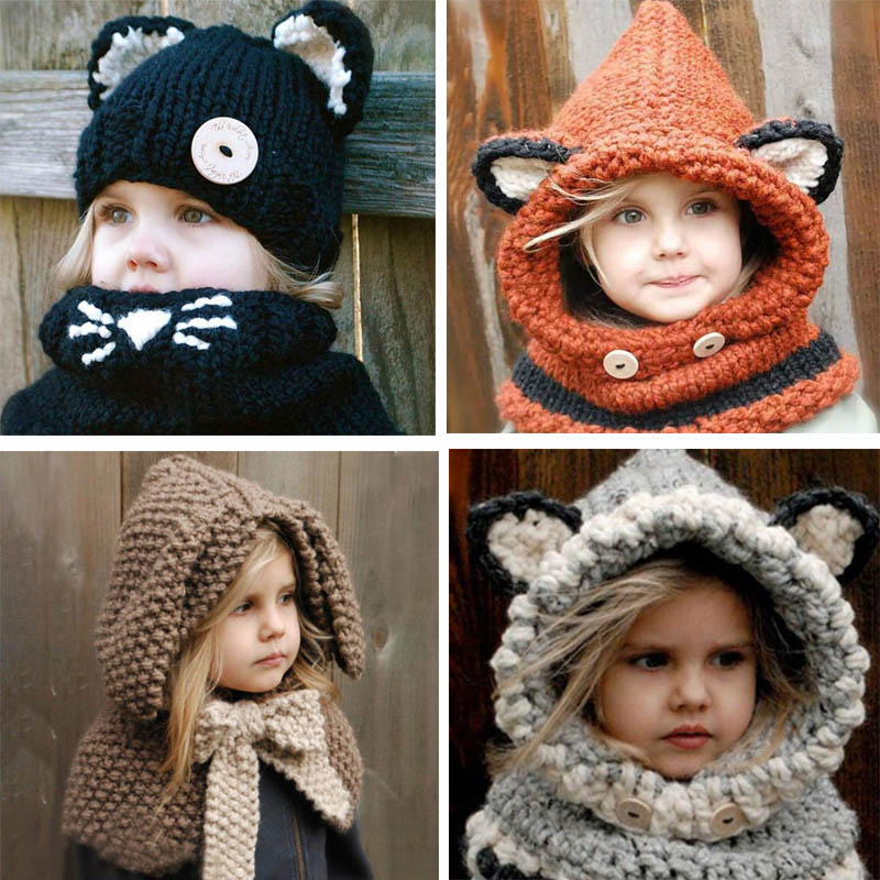 Niños invierno sombrero tejido al crochet envolver Animal de dibujos animados orejeras capucha bufanda cráneo Cap