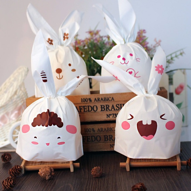 50pcs sweet rabbit bags birthday gift bags cookie bag plastic 50pcs sweet rabbit bags birthday gift bags cookie bag plastic packaging biscuit candy gift negle Images