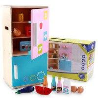 Children Wooden Kitchen Refrigerator Furniture Kindergarten Teaching toys Kindergarten Role Playing Baby fun toy