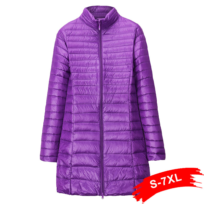 Winter Plus Size Womens Hoody Duck Down Jackets 5XL 6XL 7XL Mid Long Ultra Light Down Coat Hooded Puffer Jacket Autumn Parkas
