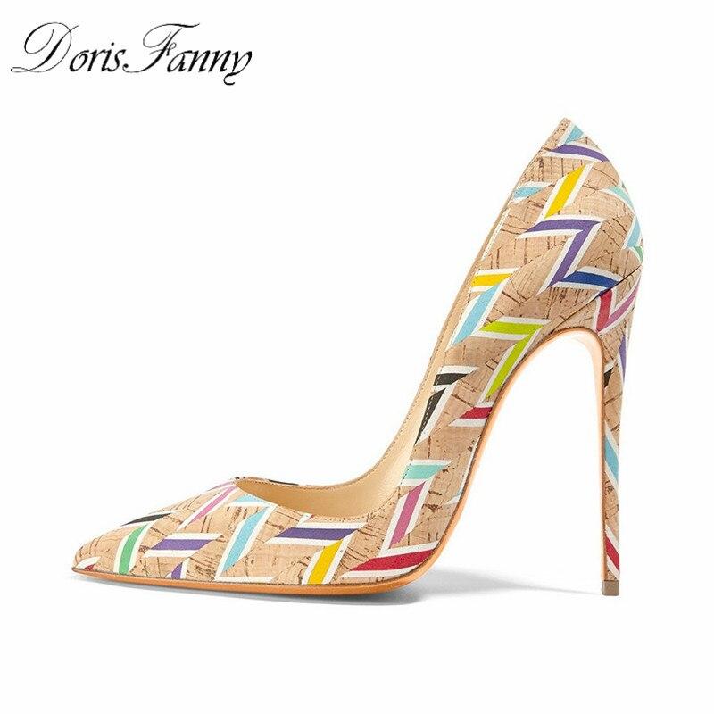 DorisFanny Marque Chaussures Femme Impression Haute Talons Femmes Chaussures Pompes Stilettos Dames Chaussures De Mariage