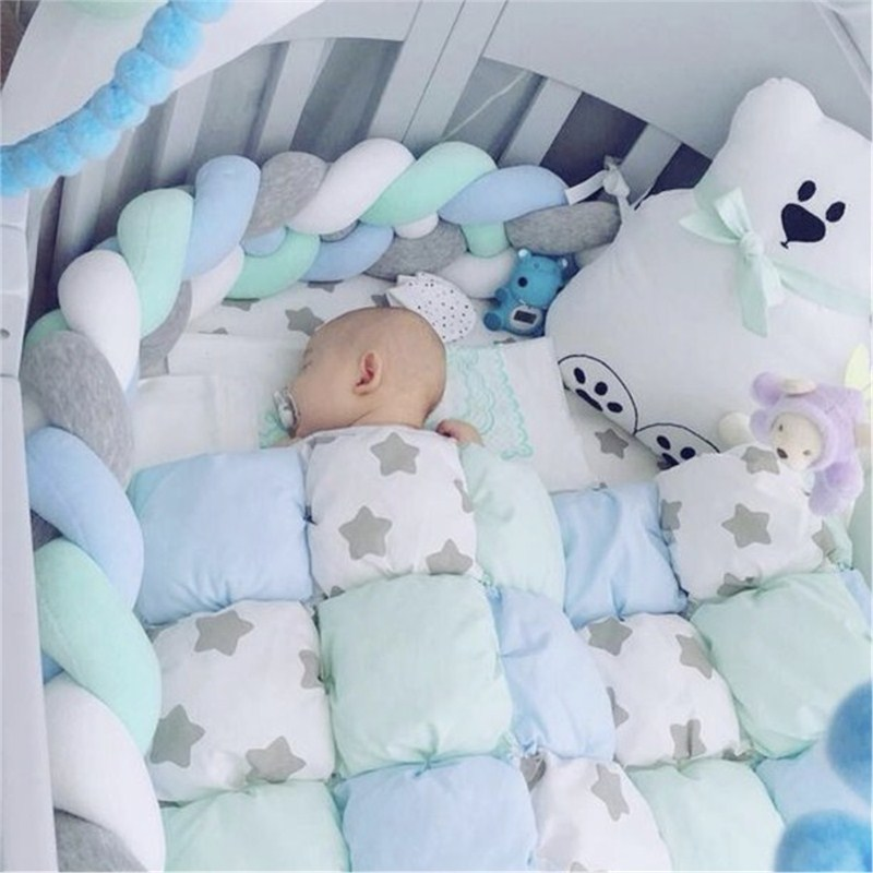 2M/3M Baby Bed Bumper Crib Sides 4 Braid Newborn Crib Pad Protection Cot Bumpers Bedding For Infant Room Decor