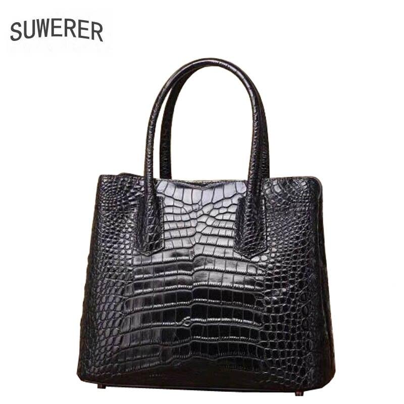 2019 Suwerer Aus Luxus Muster Taschen Leder Handtasche Echtem blue Neue Mode Designer Handtaschen purple Frauen Tote Krokodil Black Aq1trwdxq