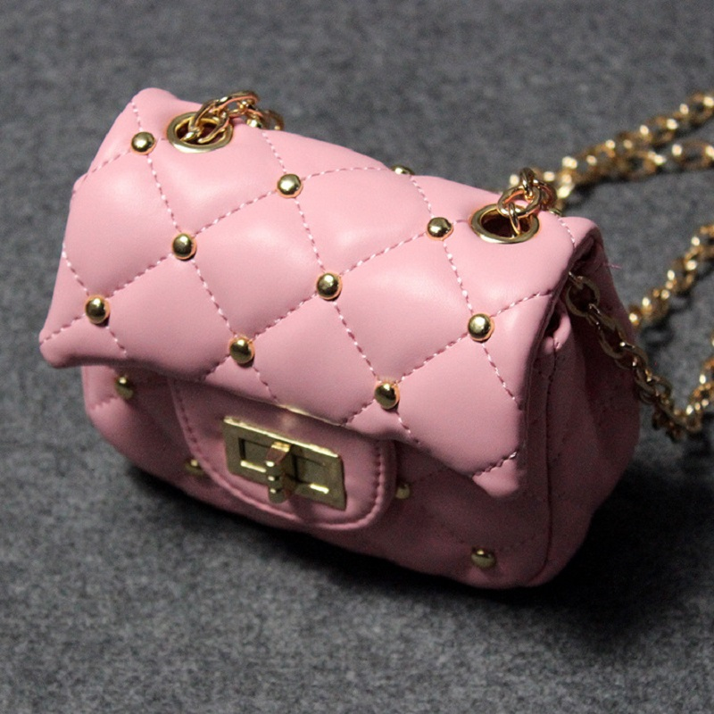 PU Leather Rivet Princess Children School Chain Bag Kids Travel Small Phone Pouchcross-body Messenger Money Bag For Baby Girls