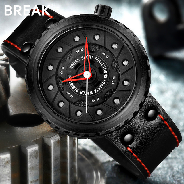BREAK Men Quartz Sport Watches Man Casual Fashion Rubber Leather Strap Top Luxury Brand Waterproof Geek Unique Gift Wristwatch