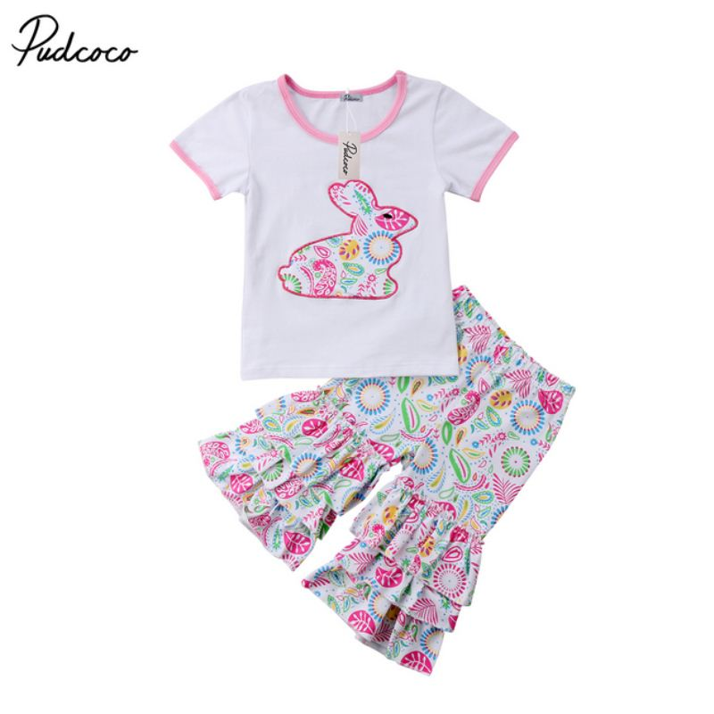Newborn Toddler Baby Girls Outfit Easter Tops T-shirt Pants Leggings Children Summer Clothes Set newborn toddler girls summer t shirt skirt clothing set kids baby girl denim tops shirt tutu skirts party 3pcs outfits set
