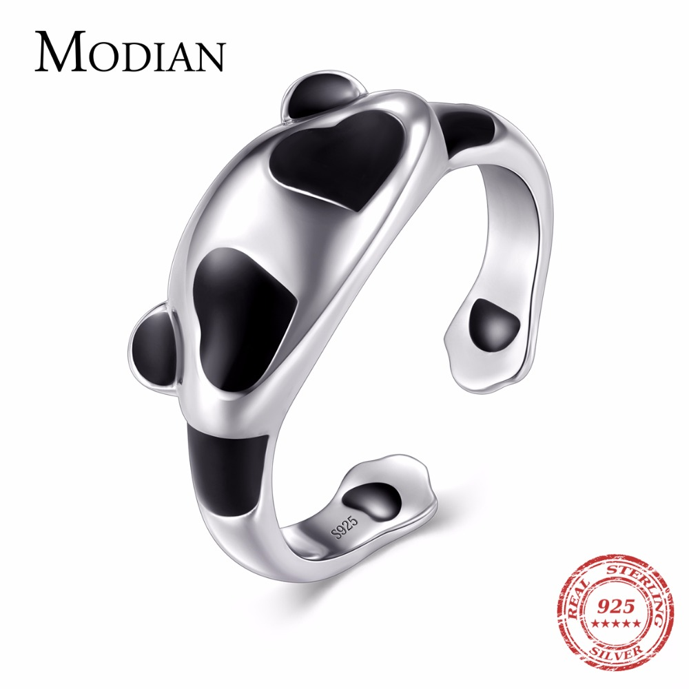 Modian New Oriental Element Solid 925 Sterling Silver Panda Ring Fashion Simple Elegant Finger For Women Wedding Engagement Gfit