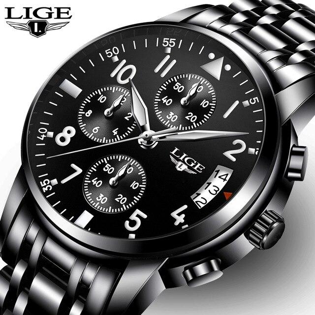 Relogio Masculino LIGE Для мужчин s часы лучший бренд Роскошные модные Бизнес кварцевые часы Для мужчин Спорт Полный Сталь Водонепроницаемый черный ч