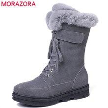MORAZORA 2020 top qualität wildleder leder stiefeletten frauen zipper + lace up komfortable plattform schuhe damen winter schnee stiefel