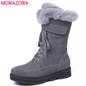 Image 1 - MORAZORA 2020 top quality suede leather ankle boots women zipper +lace up comfortable platform shoes ladies winter snow boots