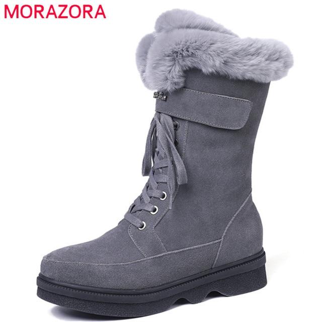 MORAZORA 2020 top quality suede leather ankle boots women zipper +lace up comfortable platform shoes ladies winter snow boots