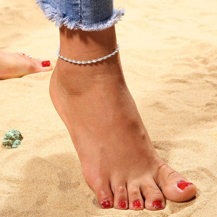 Витые Серебряные ножные браслеты с цепочкой для женщин винтажные богемные свадебные ножной браслет браслеты для сандалий Boho DIY летний браслет на ногу ювелирные изделия
