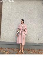 Arlenesain/двустороннее шерстяное пальто на заказ с воротником из лисьего меха, длинное пальто выше колена