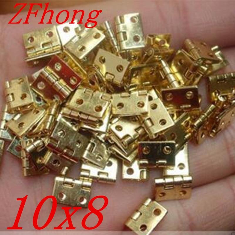 100PCS 10*8MM Mini Cabinet Drawer Butt Hinge Copper Gold Small Hinge 4 Small Hole Hinge