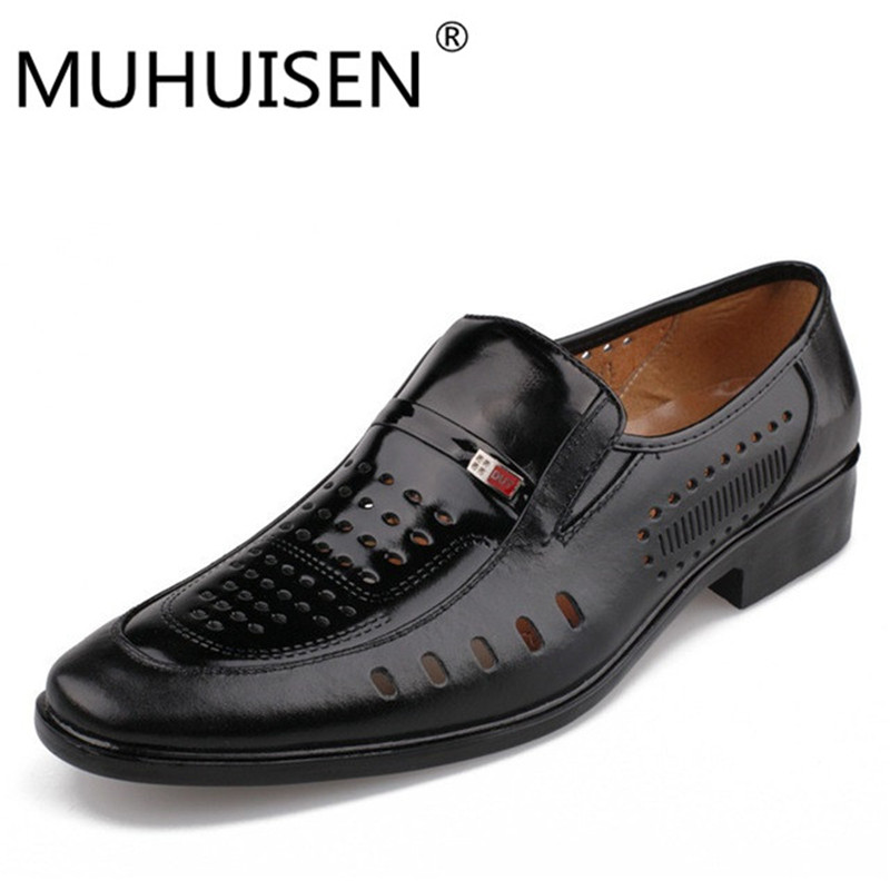 MUHUISEN New arrival 2017 summer genuine leather hollow hole male men casual shoes breathable waterproof cool footwear 38-44 eur casual waterproof boot silicone shoes cover w reflective tape for men black eur size 44 pair