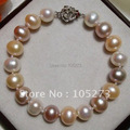 Pearl Bracelet AA 8-9MM Mixes Color Exquisite Freshwater Pearl Bracelet 18cm Fashion Girl's Women's Jewelry New Free Shipping