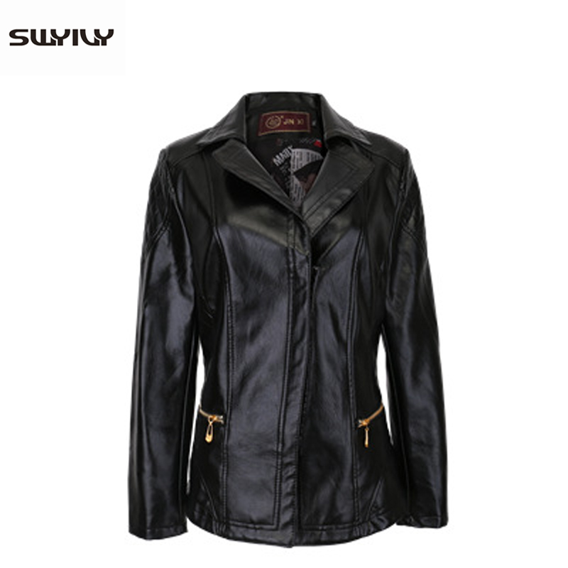 SWYIVY Women's Simple Slim Jacket Faux   Leather   Casual 2019 New Autumn Winter Female Outwear Coat Red Woman   Leather   Jackets XXXXL