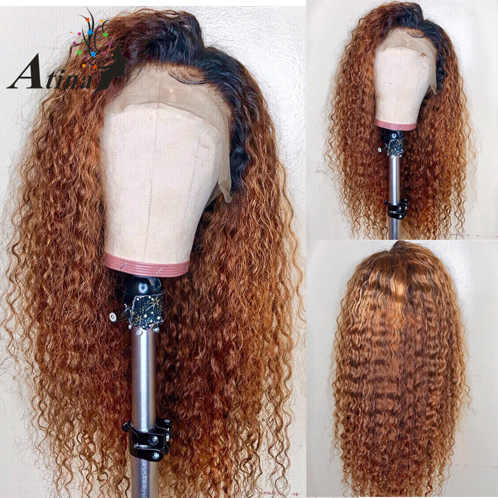 Curly 1B/27 Honey Blonde Ombre 360 Invisible Lace Frontal Human Hair Closure Wigs Pre Plucked With Baby Hair Remy Hair Indian