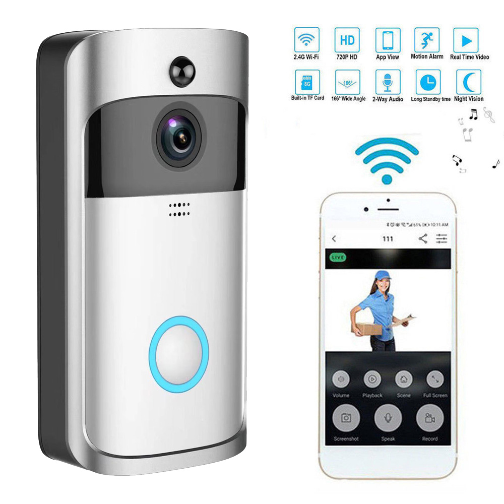 Smart Wireless WiFi Security DoorBell Video Door Phone with Plug in Chime Visual Recording Remote Home