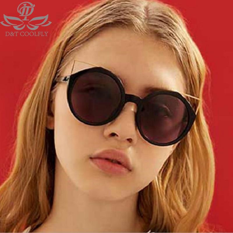 D&T New Cat Eye Women Sunglasses Retro Brand Designer Classic Round Circle Sunglasses Fashion Colorful Luxury Women's Sunglasses