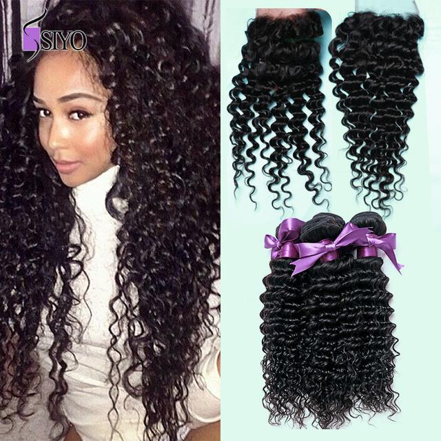 Grau 7a não transformados virgem cabelo com encerramento onda profunda curly weave 3 pcs barato malaio molhado e ondulado cabelo weave com fecho
