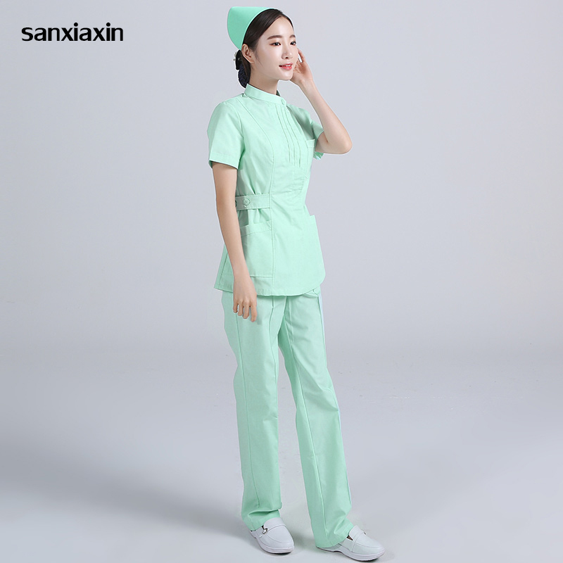 Medical Lab Coat Hospital Female Short Sleeve Work Uniforms Korean Cosmetic Surgery Sale Beauty Salon Uniform Pharmacy Clothing