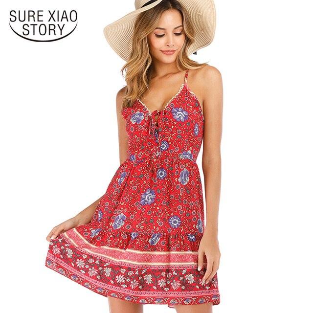 2f6aec5458c women sexy dress summer dress 2019 v-neck sleeveless strap print dress women  vestidos de verano beach style summer dress 4468 50