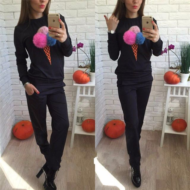 2018 Autumn Winter Women SportswearSuit Cute Plush Ball Casual Sweatshirts+Pants 2 Piece Set Women Long Sleeve Conjunto Feminino