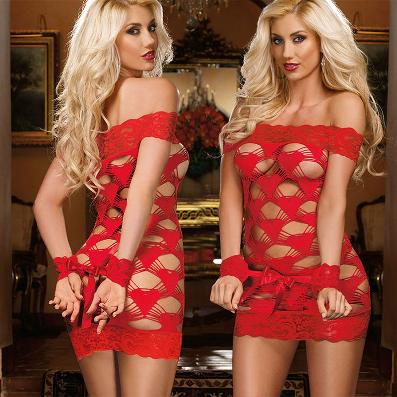 2016 Hot Sale Sexy Woman Red Hollow Out Valentine Lingerie Babydoll  Underwear Sleepwear Nightdress Lace Mesh Sleeveless Dress In Exotic Apparel  From Novelty ...