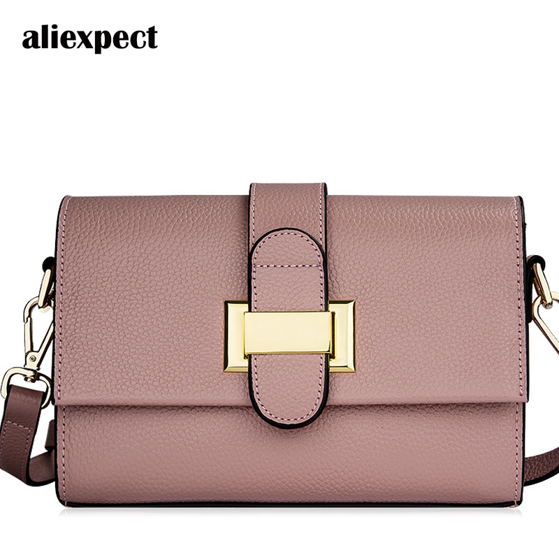 2018 New Women's Bags Leather Litchi Pattern Small Square Packages The First Layer Leather Simple Scarf Messenger Shoulder Bag bag female new genuine leather handbags first layer of leather shoulder bag korean zipper small square bag mobile messenger bags