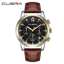 Fashion Business Men Watches Top Brand Luxury Male Clock Chronograph Quartz Watch Genuine Leather Waterproof Wristwatch