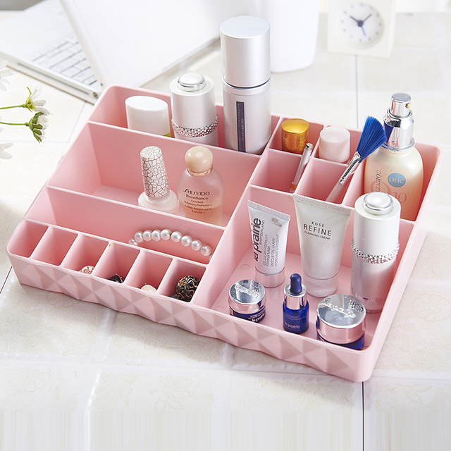 Large Desktop Cosmetics Jewelry 6 Color Storage Box Plastic Pretty Makeup Organizer One Layer & Large Desktop Cosmetics Jewelry 6 Color Storage Box Plastic Pretty ...