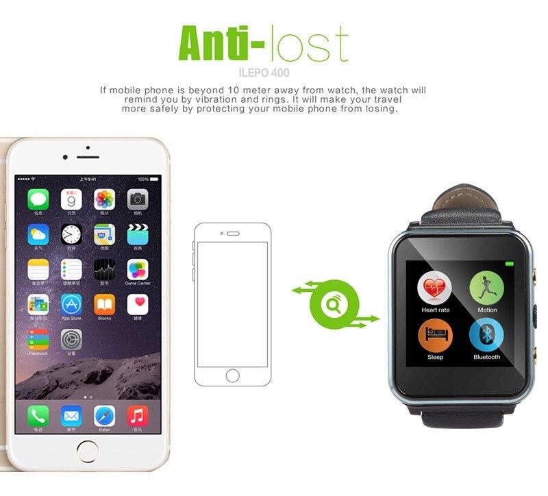 New Fashion I400 Smart Watch Phone MTK6261A Heart Rate Monitor SIM+TF Card Slot 2MP Camera 1.54″ HD Screen 400mah Battery BT 4.0
