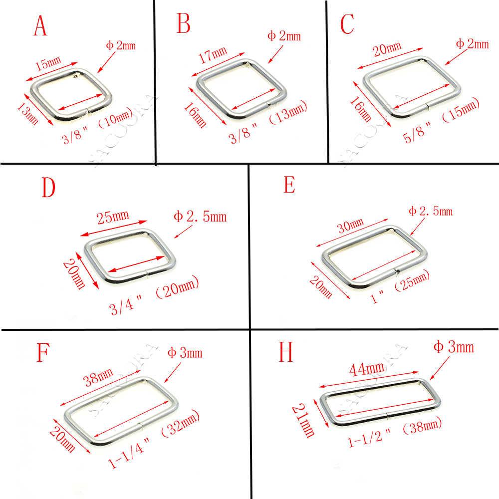 10 قطعة/الحزمة الأسلاك المعدنية شكلت مستطيل حلقة الحلقات ل حزام 10 12 15 20 25 32 38 مللي متر