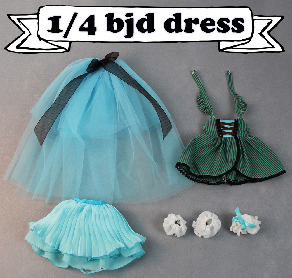 forturn days only for 1/4 bjd 45cm doll green dress blue skirt corset lolita princess suit clothes white lace green casual lace beaded suit