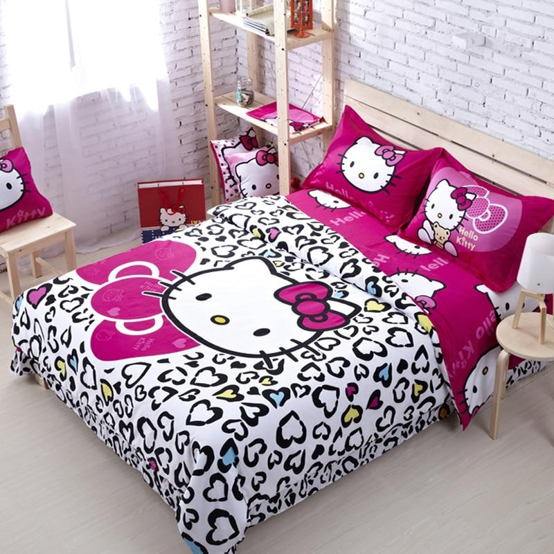 100 Cotton Hello Kitty Queen Size Bedding Comforter Set