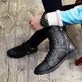 Men Boots Fashion Lace Up Round Toe Rubber Sole Zip Boots Men Comfortable Martin Boots Brand Shoes Men Chaussure Homme 2016