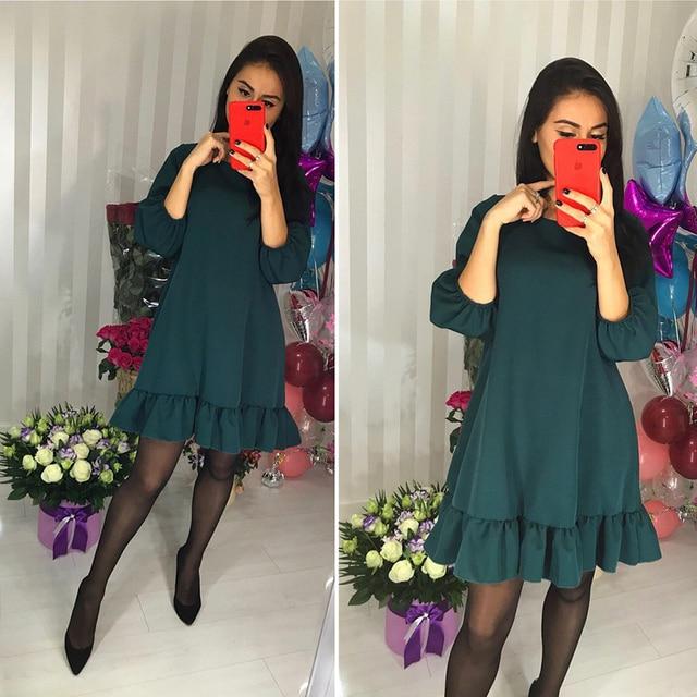 fa41d2b04 YODDUP 2018 Nova Primavera Moda Feminina Casual o pescoço 3 4 Vestidos de  Manga Lanterna